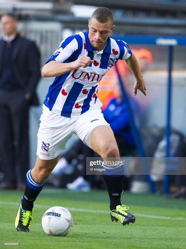 Yanic Wildschut of sc Heerenveen during the Dutch Eredivisie match between sc Heerenveen and SC Cambuur Leeuwarden on September 29, 2013 at the Abe Lenstra stadium in Heerenveen, The Netherlands.