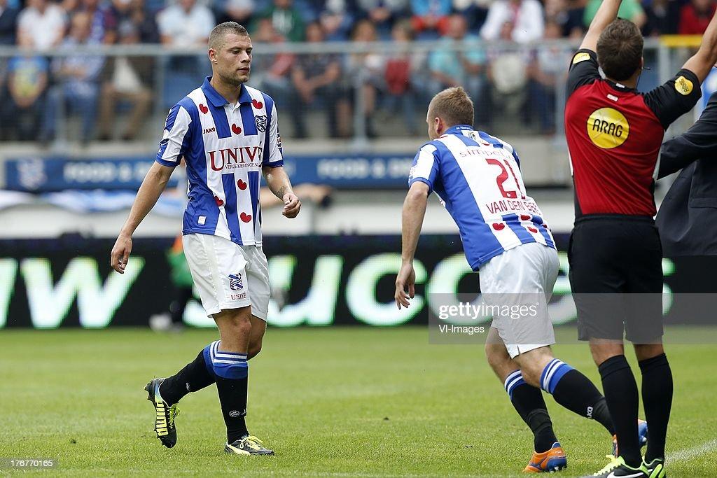 Yanic Wildschut of SC Heerenveen (L), Joey van den Berg of SC Heerenveen (R) during the Dutch Eredivisie match between sc Heerenveen and Heracles Almelo on August 18, 2013 at the Abe Lenstra stadium in Heerenveen, The Netherlands.