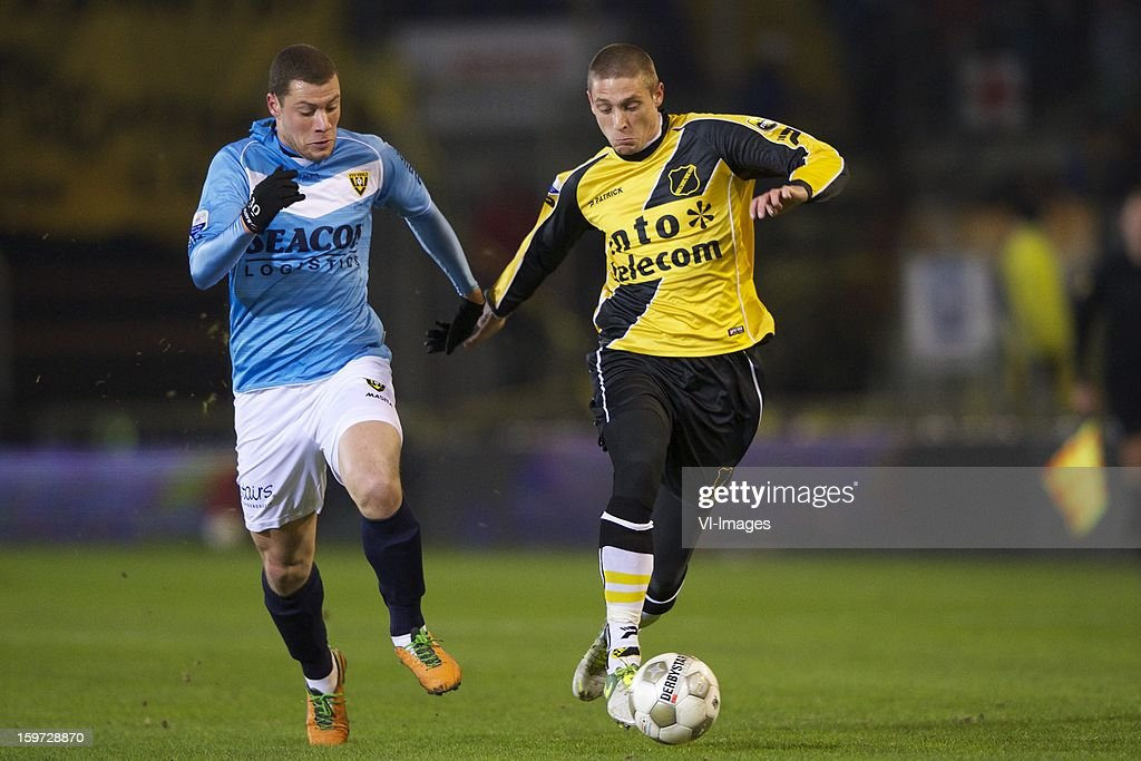 Yanic Wildschut of VVV Venlo, Jens Janse of NAC Breda during the Dutch Eredivise match between NAC Breda and VVV-Venlo at the Rat Verlegh Stadium on January 19, 2013 in Breda, The Netherlands.