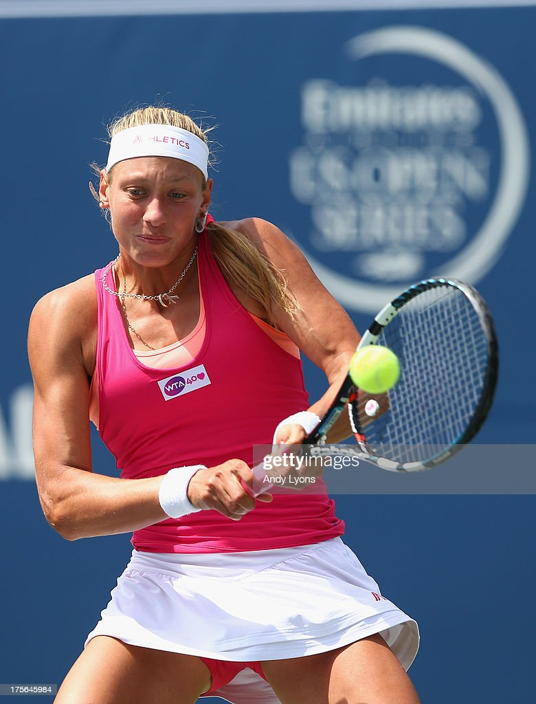 <a gi-track='captionPersonalityLinkClicked' href=/galleries/search?phrase=Yanina+Wickmayer&family=editorial&specificpeople=5406363 ng-click='$event.stopPropagation()'>Yanina Wickmayer</a> of Belgium hits a return during her match on day 1 of the Rogers Cup Toronto at Rexall Centre at York University on August 5, 2013 in Toronto, Canada.
