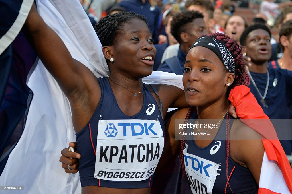 Yanis David and Hilary Kpatcha from France celebrate after women's long jump during the IAAF World U20 Championships at the Zawisza Stadium on July 22, 2016 in Bydgoszcz, Poland.