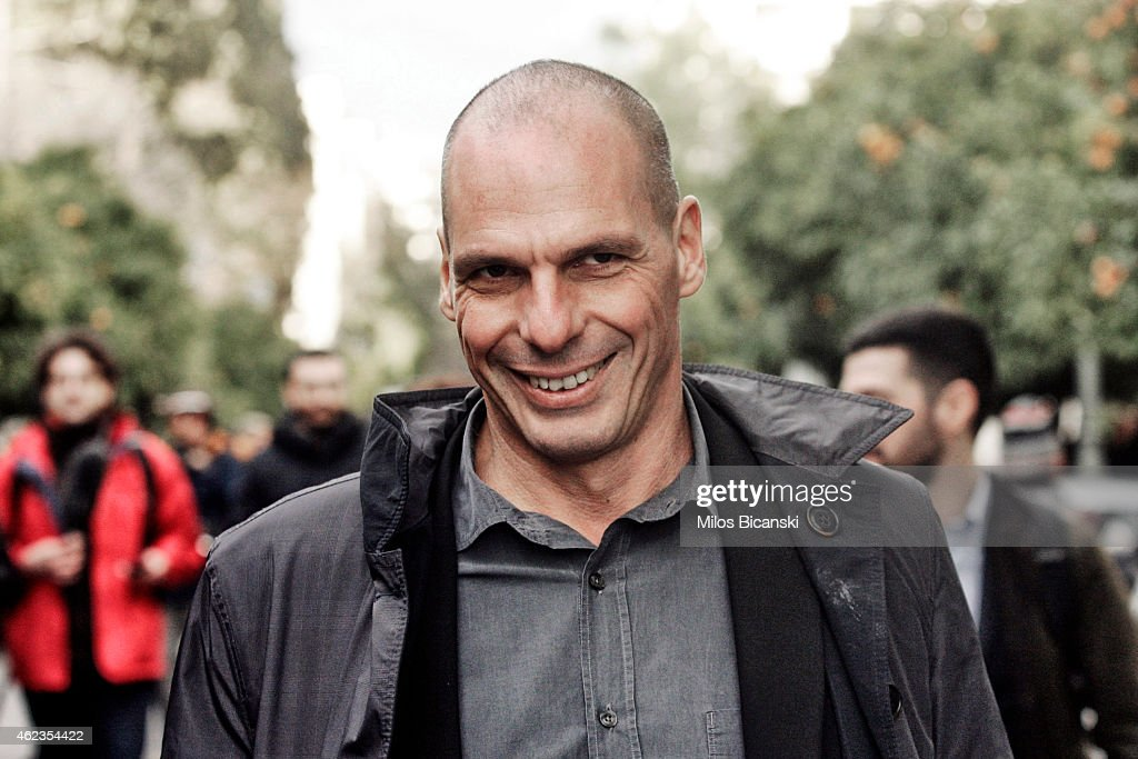 Yanis Varoufakis arrives at the Presidential Palace to be sworn in as the Finance Minister under the country's new left wing government on January 27...