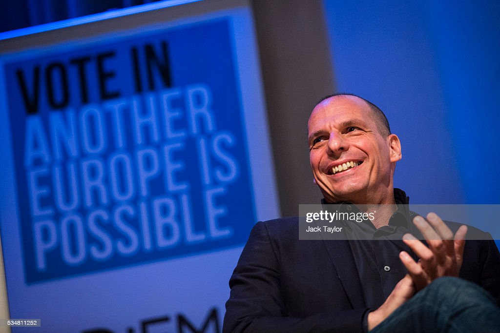 <a gi-track='captionPersonalityLinkClicked' href=/galleries/search?phrase=Yanis+Varoufakis&family=editorial&specificpeople=13872964 ng-click='$event.stopPropagation()'>Yanis Varoufakis</a>, former finance minister of Greece, attends a Diem25 event at The UCL, Institute of Education on May 28, 2016 in London, England. Left-wing politicians and thinkers were today campaigning at the DiEM25 event to stay in the European Union ahead of the EU referendum on the 23rd of June.