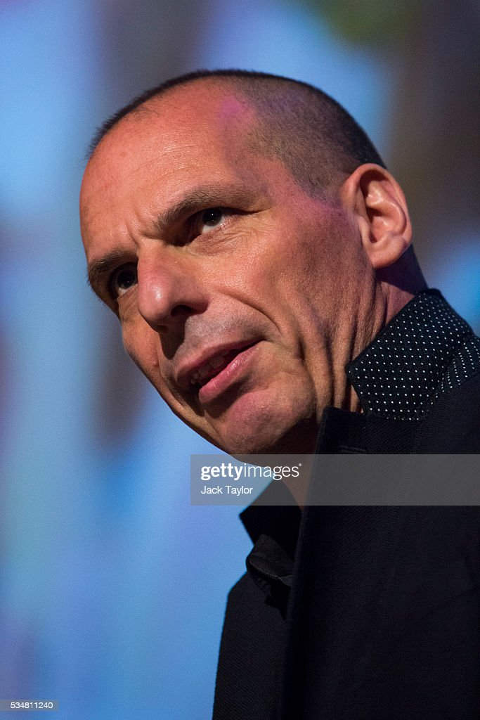 <a gi-track='captionPersonalityLinkClicked' href=/galleries/search?phrase=Yanis+Varoufakis&family=editorial&specificpeople=13872964 ng-click='$event.stopPropagation()'>Yanis Varoufakis</a>, former finance minister of Greece, speaks at a Diem25 event at The UCL, Institute of Education on May 28, 2016 in London, England. Left-wing politicians and thinkers were today campaigning at the DiEM25 event to stay in the European Union ahead of the EU referendum on the 23rd of June.