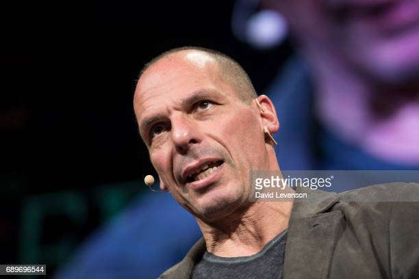 Yanis Varoufakis former Greek finance minister at the Hay Festival on May 29 2017 in Hay on Wye United Kingdom