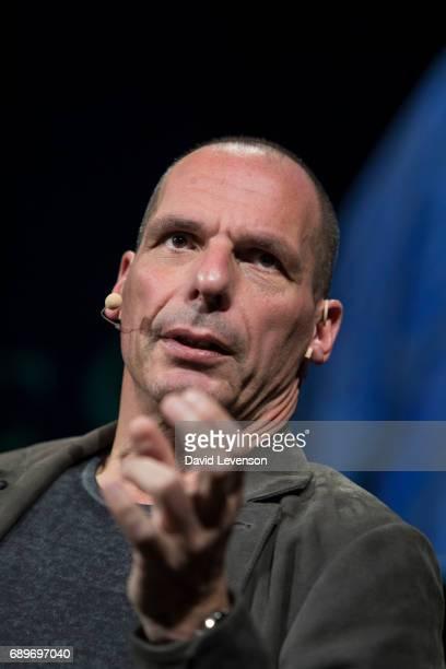 Yanis Varoufakis former Greek finance ministerat the Hay Festival on May 29 2017 in Hay on Wye United Kingdom