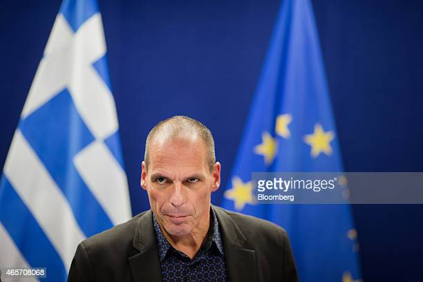 Yanis Varoufakis Greece's finance minister speaks during a news conference following a meeting of European finance ministers in Brussels Belgium on...