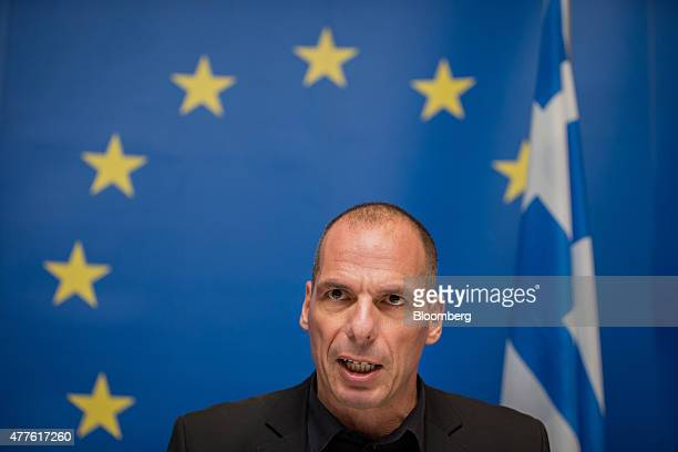 Yanis Varoufakis Greece's finance minister speaks during a news conference following a Eurogroup meeting in Luxembourg on Thursday June 18 2015...