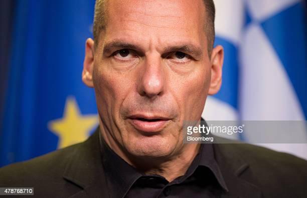 Yanis Varoufakis Greece's finance minister speaks to the media following an emergency meeting of European finance ministers in Brussels Belgium on...