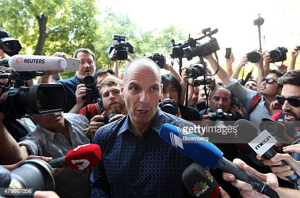 Yanis Varoufakis Greece's outgoing finance minister speaks to the media as he exits the finance ministry following his resignation in Athens Greece...