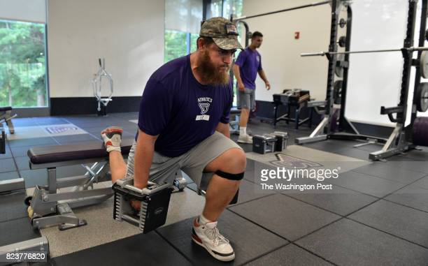 Yaniv Kovalski of Jerusalem Israel works out with teammates in the athletic gym of Stonehill College in North Easton Massachusetts on July 18 2017...