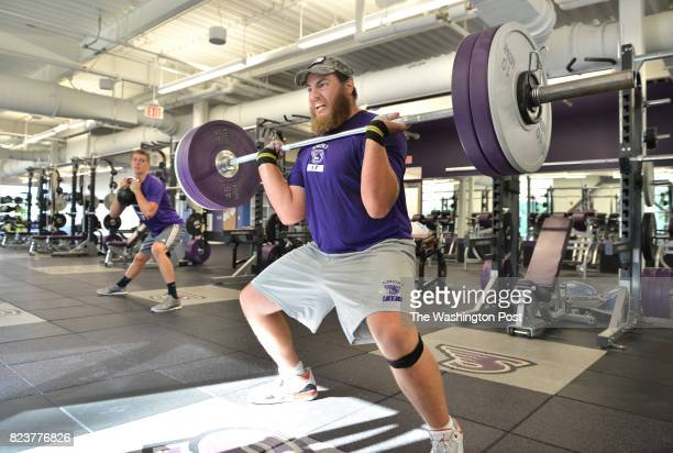 Yaniv Kovalski works out with teammates in the athletic gym of Stonehill College in North Easton Massachusetts on July 18 2017 Kovalski is the first...