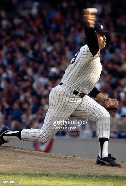 Yankee Catfish Hunter pitches against the Dodgers during game 2 of the 1977 World Series at Yankee Stadium in Bronx New York on October 12 1977 The...