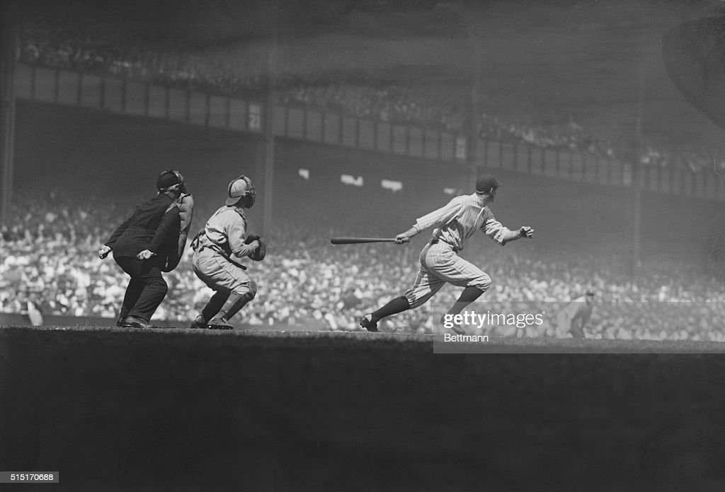 Yankee outfielder Earle Combs singles to start off the bottom of the first inning during the first game of the double header against the Philadelphia...