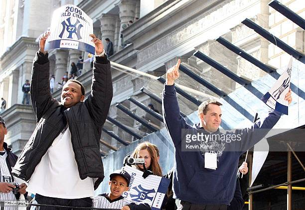 Yankee pitcher CC Sabathia and Yankee first baseman Mark Teixeira celebrate duing the 2009 New York Yankees World Series Victory Parade on November 6...