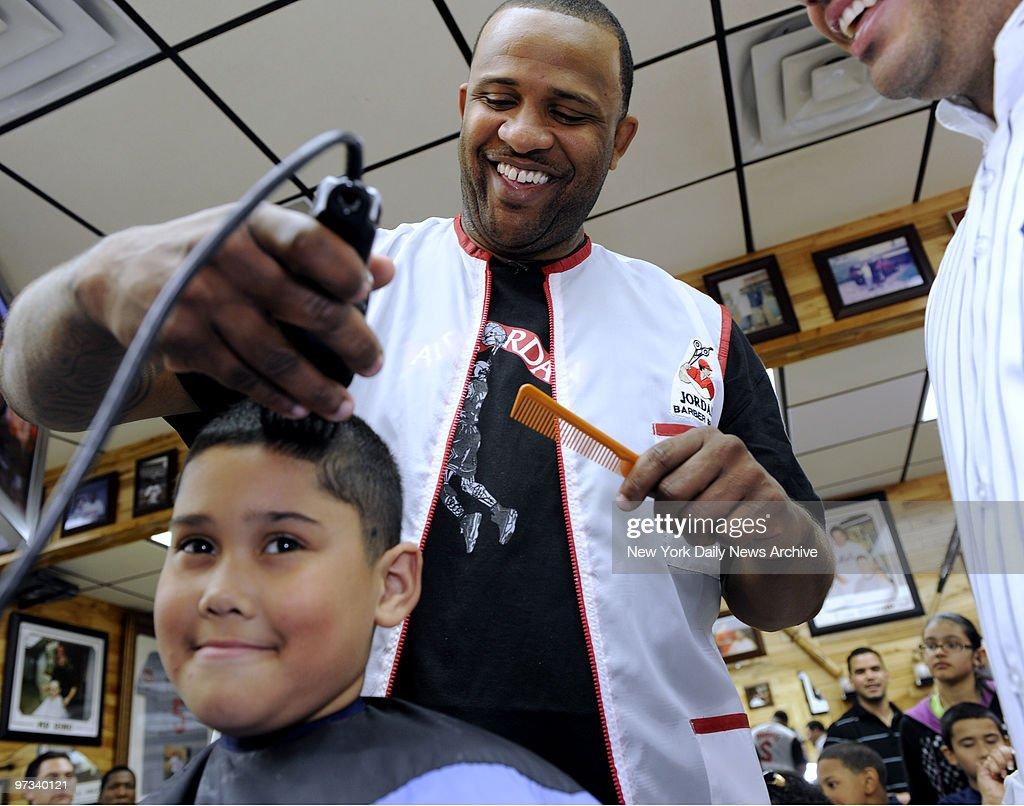 yankee pitchers phil coke and cc sabathia give kids hair cuts at jordan sport barber shop - Pitchers For Kids
