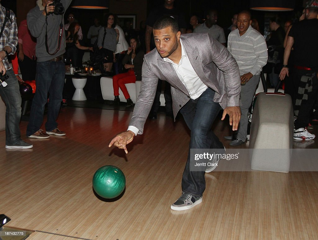 NY Yankee player <a gi-track='captionPersonalityLinkClicked' href=/galleries/search?phrase=Robinson+Cano&family=editorial&specificpeople=538362 ng-click='$event.stopPropagation()'>Robinson Cano</a> bowls at the PitCCh In Foundation 2013 Challenge Rules Party at Luxe at Lucky Strike Lanes on November 8, 2013 in New York City.