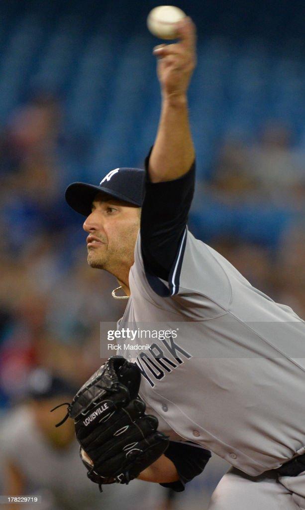 TORONTO ON AUGUST 27 Yankee starter Andy Pettitte Toronto Blue Jays host New York Yankees at Roger's Centre in Toronto onAugust 27 2013