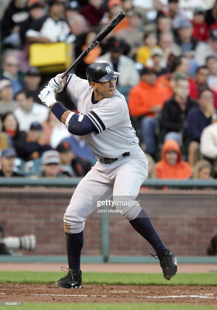 Yankees 3rd baseman Alex Rodriguez at bat during the New York Yankees 73 defeat of the San Francisco Giants at ATT Park June 22 2007 in San Francisco...