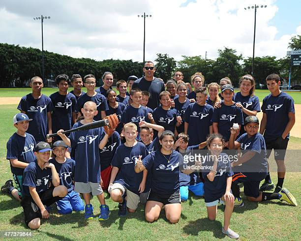 Yankees 3rd baseman Alex Rodriquez holds an interactive baseball clinic at The Boys Girls Club of MiamiDade on June 16 2015 in Miami Florida