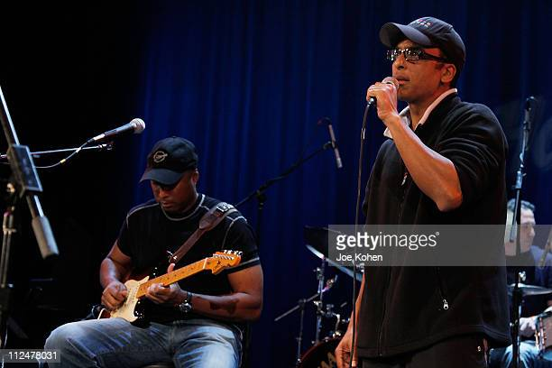 NY Yankees Baseball player and Musician Bernie Williams and musician Jon Secada perform during the GRAMMY SoundCheck at The Hard Rock on April 17...