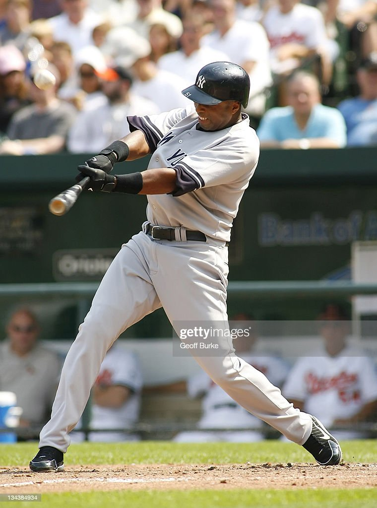 Yankees center fielder <a gi-track='captionPersonalityLinkClicked' href=/galleries/search?phrase=Bernie+Williams&family=editorial&specificpeople=175814 ng-click='$event.stopPropagation()'>Bernie Williams</a> makes contact with a pitch from Orioles pitcher Hayden Penn at Camden Yards, in Baltimore, Maryland on September 10, 2006.