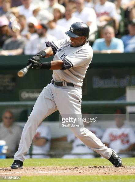 Yankees center fielder Bernie Williams makes contact with a pitch from Orioles pitcher Hayden Penn at Camden Yards in Baltimore Maryland on September...