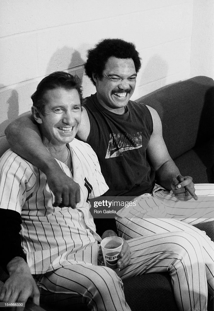 Yankees Coach Billy Martin and athlete Reggie Jackson sighted after the Sixth Game of the Worlds Series New York Yankees vs Los Angeles Dodgers on...