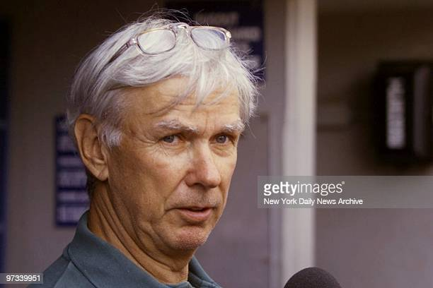 Yankees' executive Gene Michael talks with reporters during American League Championship Series between the New York Yankees and the Cleveland Indians