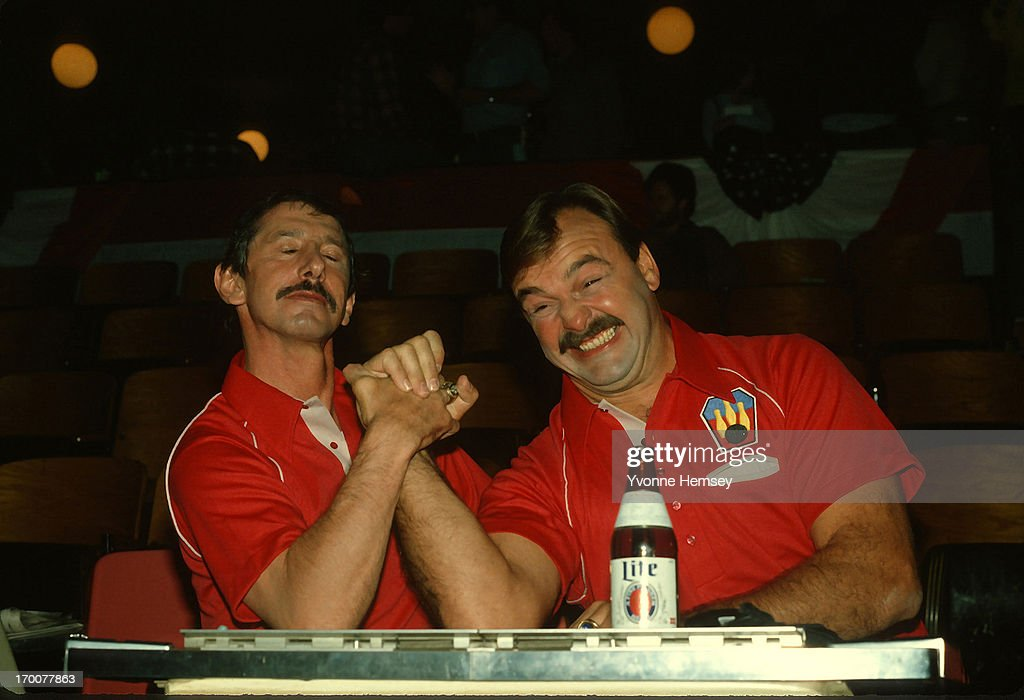 NY Yankees Manager Billy Martin and football great and broadcaster Dick Butkus tape a Miller Lite commercial December 2 1981 in New York City