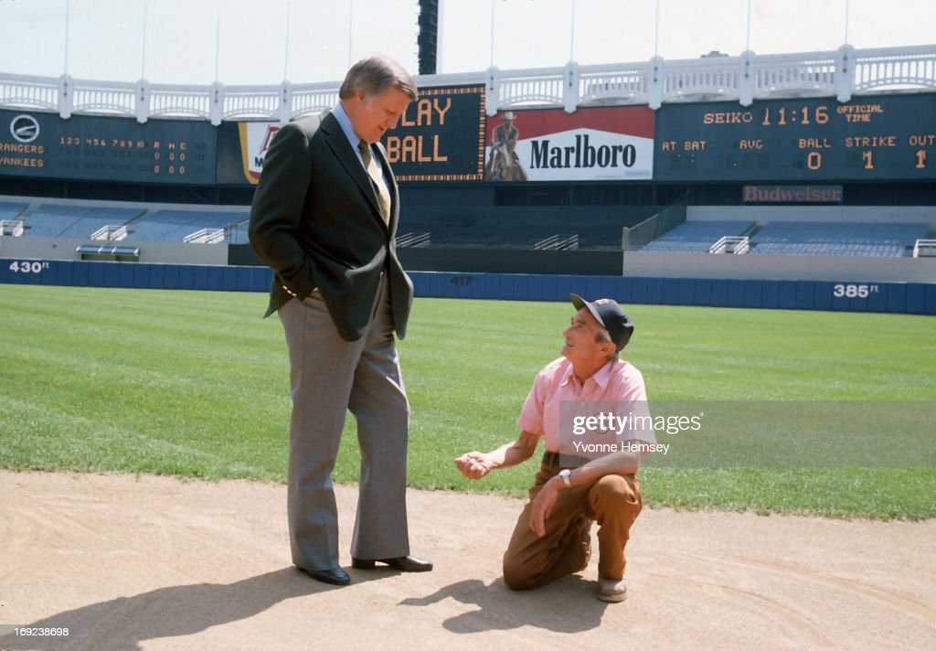 NY Yankees owner <a gi-track='captionPersonalityLinkClicked' href=/galleries/search?phrase=George+Steinbrenner&family=editorial&specificpeople=220576 ng-click='$event.stopPropagation()'>George Steinbrenner</a> and Jimmy Esposito, head groundskeeper at Yankee Stadium, discuss the condition of Yankee Stadium's field August 4, 1981 in the Bronx, New York. The baseball strike, which was settled July 31, halted play at the stadium since June 12, forcing the cancellation of 713 games.