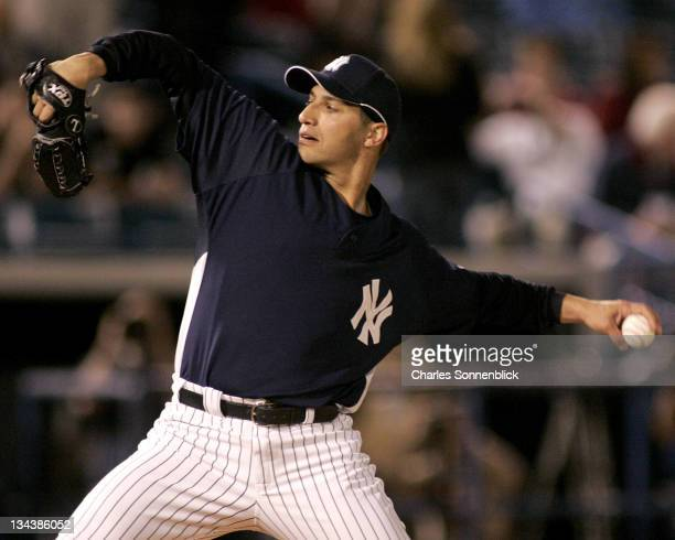 Yankees pitcher Andy Pettitte pitched three scoreless innings in a spring training game against the Reds on March 7 2007 at Legends Field in Tampa...