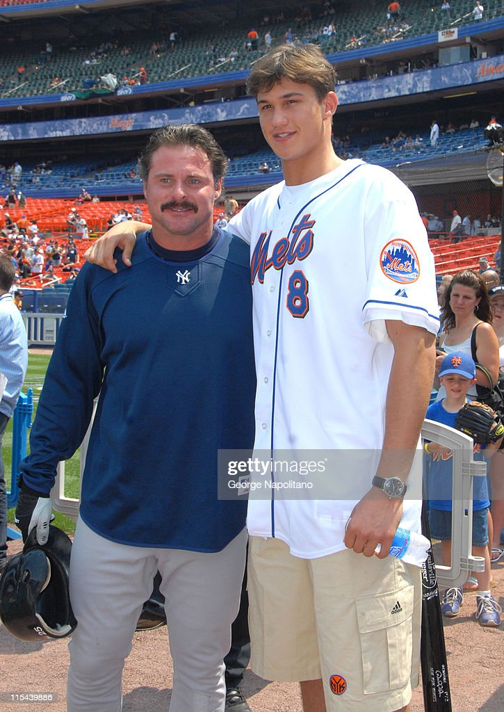 NY Yankees player Jason Giambi gets together with New York Knicks first round draft pick Danilio Gallinardi on June 28 2008 at Shea Stadium in...