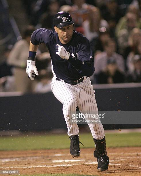 Yankees shortstop Derek Jeter runs down the first baseline in a spring training game against the Reds on March 7 2007 at Legends Field in Tampa...