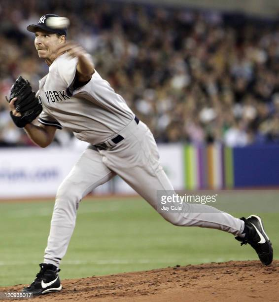 NY Yankees Starter Randy Johnson delivers a pitch tonight during the New York Yankees vs Toronto Blue Jays game on April 18 2006 at Rogers Centre in...