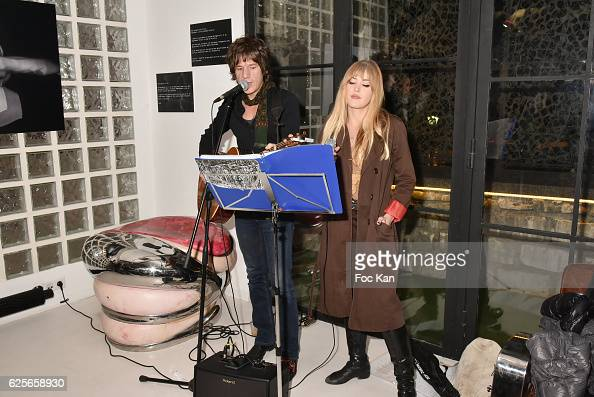 Yann and Pauline from Eldorado Band perform during 'In Beetween' Collective Exhibition Preview at Galerie 18 on November 24 2016 in Paris France