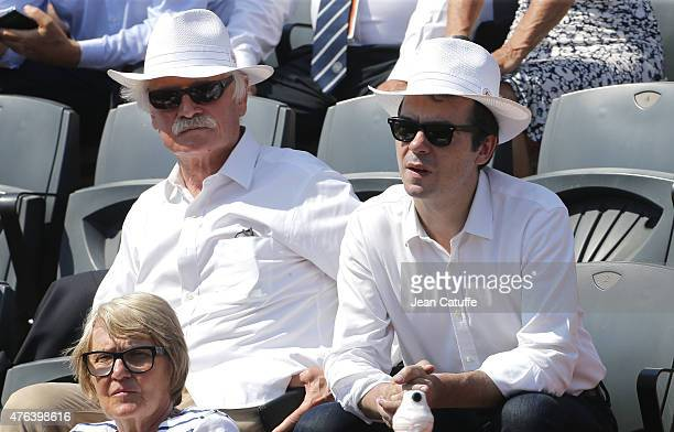 Yann ArthusBertrand and Michel Drucker attend day 13 of the French Open 2015 at Roland Garros stadium on June 5 2015 in Paris France