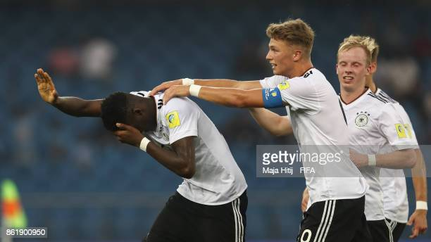 Yann Bisseckl of Germany reacts after scoring a goal to make it 02 during the FIFA U17 World Cup India 2017 Round of 16 match between Columbia and...