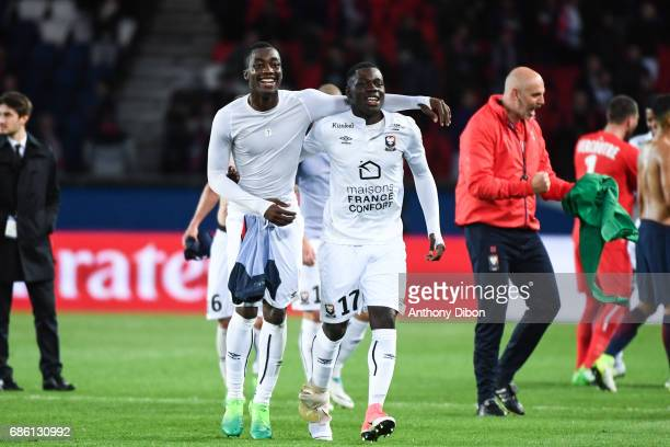 Yann Karamoh and Jean Victor Makengo of Caen looks happy during the Ligue 1 match between Paris SaintGermain and SM Caen at Parc des Princes on May...