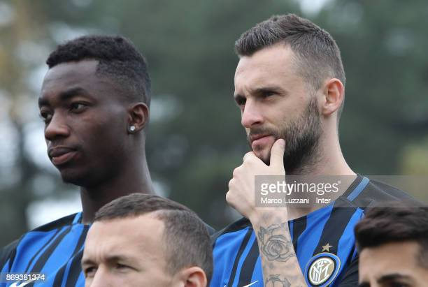 Yann Karamoh and Marcelo Brozovic of FC Internazionale back stage during the FC Internazionale Official Photoshoot at the club's training ground...