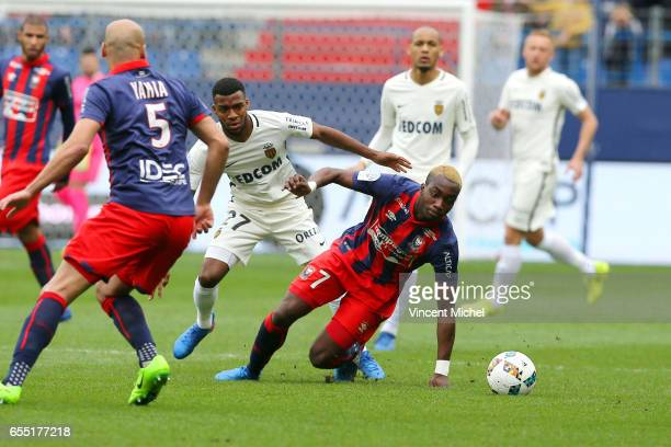 Yann Karamoh of Caen and Thomas Lemar of Monaco during the French Ligue 1 match between Caen and Monaco at Stade Michel D'Ornano on March 18 2017 in...