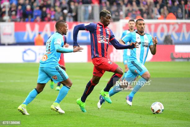 Yann Karamoh of Caen on the attack during the French Ligue 1 match between Caen and Marseille at Stade Michel D'Ornano on April 30 2017 in Caen France
