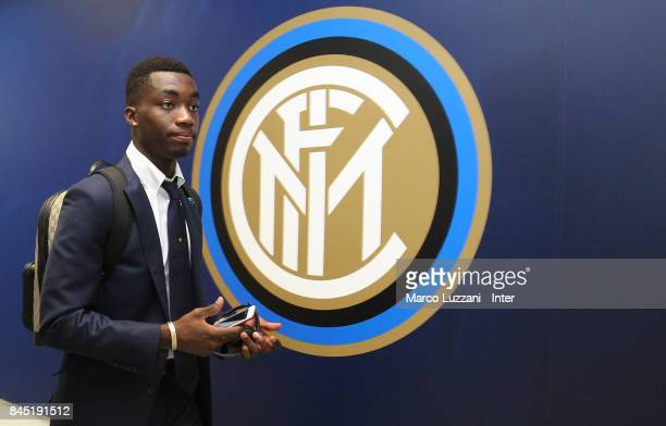 Yann Karamoh of FC Internazionale arrives prior to the Serie A match between FC Internazionale and Spal at Stadio Giuseppe Meazza on September 10...
