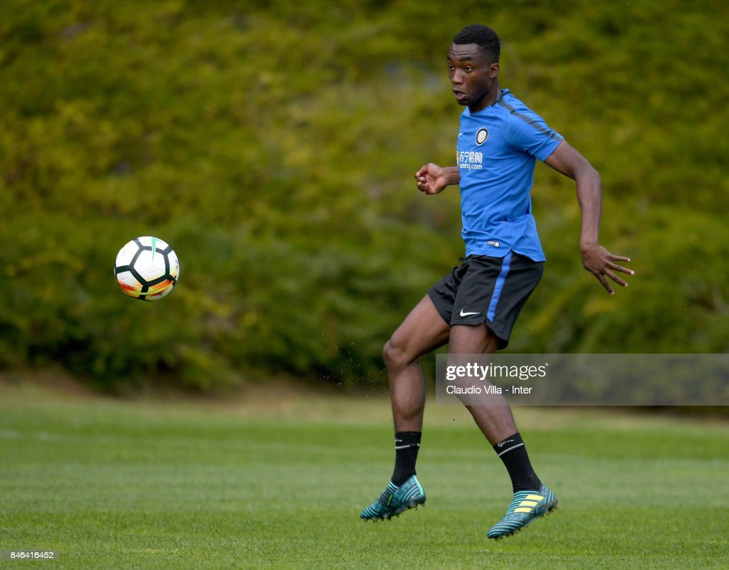 Yann Karamoh of FC Internazionale in action during a training session at Suning Training Center at Appiano Gentile on September 13, 2017 in Como, Italy.