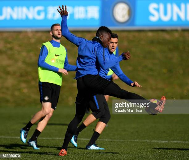 Yann Karamoh of FC Internazionale in action during the FC Internazionale training session at Suning Training Center at Appiano Gentile on November 17...