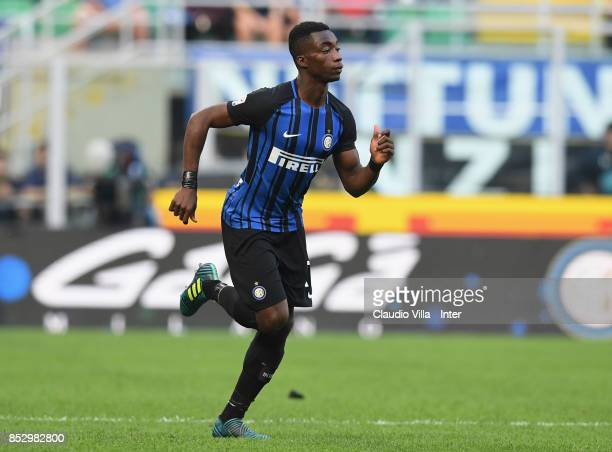 Yann Karamoh of FC Internazionale in action during the Serie A match between FC Internazionale and Genoa CFC at Stadio Giuseppe Meazza on September...