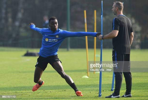 Yann Karamoh of FC Internazionale in action during the training session at Suning Training Center at Appiano Gentile on October 11 2017 in Como Italy