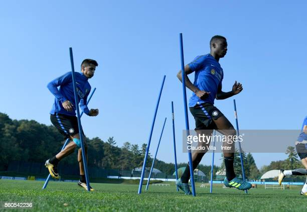Yann Karamoh of FC Internazionale in action during the training session at Suning Training Center at Appiano Gentile on October 12 2017 in Como Italy