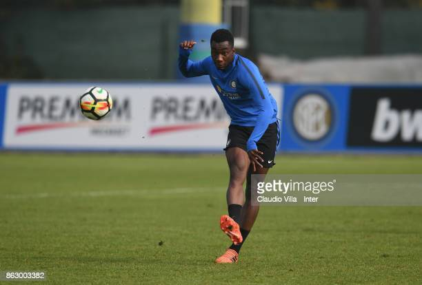Yann Karamoh of FC Internazionale in action during the training session at Suning Training Center at Appiano Gentile on October 19 2017 in Como Italy
