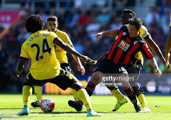Yann Kermorgant of Bournemouth and Carlos Sanchez of Aston Villa compete for the ball during the Barclays Premier League match between AFC...